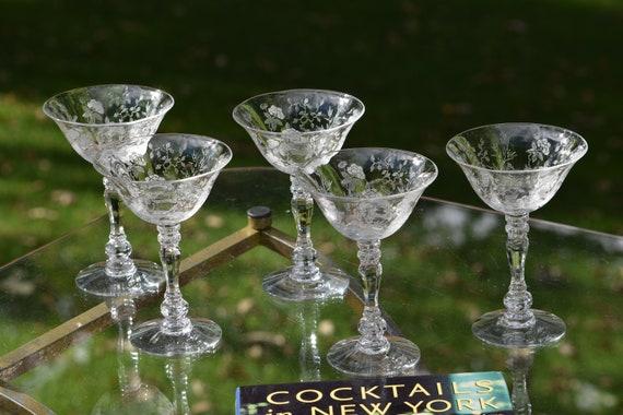 Vintage Acid Etched CRYSTAL Cocktail Martini glasses, Set of 5, Duncan Miller, Indian Tree, circa 1938, Vintage Acid Etched Cocktail Glass
