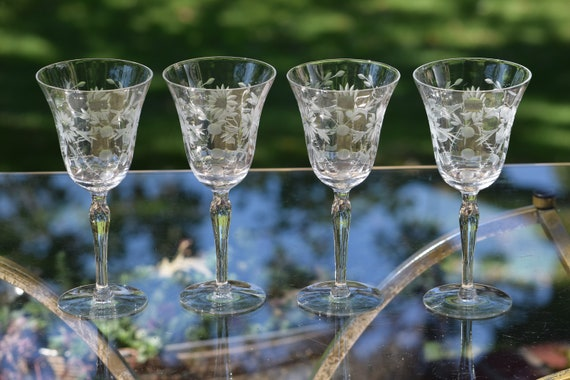 Vintage Etched Wine Glasses, Floral Etched Optic Glass, Set of 4, Wedding Toasting Glasses, Wedding Gifts, Antique Wine Glasses