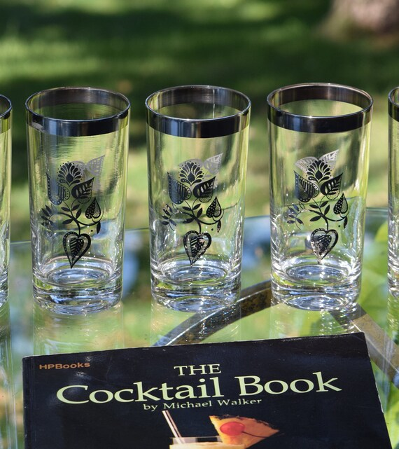 Vintage Georges Briard Highball Glasses, Set of 6 Whiskey ~ Scotch Glasses, Vintage Briard Cocktail Glasses 1950's Highball Glasses