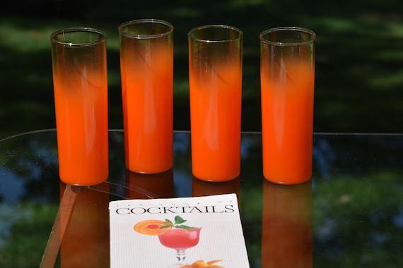 Vintage BLENDO Style Orange Fade Collins Glasses, Set of 4,  Vintage Orange Cocktail - Collins Glasses, 12 oz., Summer Cocktail Glasses