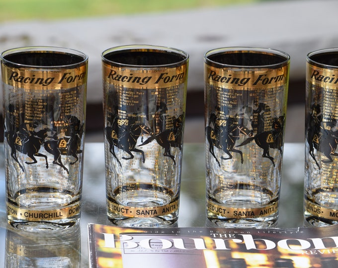 4 Vintage Cocktail Highball Glasses, Racing Form, 1950's, Whiskey, Bourbon, Scotch Highball Glasses, Horse Race Track Collectables
