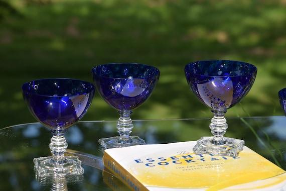 Vintage Cobalt Blue Cocktail ~ Martini Glasses, Set of 4, Seneca, Cobalt Blue Dimple Optic, 1940's, Vintage Cobalt Blue Champagne Glasses