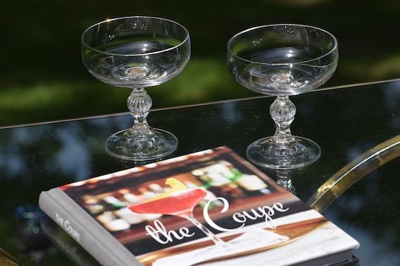 Vintage Cocktail Glasses, Set of 4, circa 1950's,  Vintage Champagne ~ Cocktail Coupes,  Home Bartender Mixologist Glasses