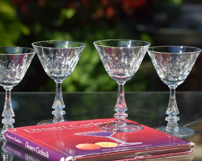 7 Vintage Etched Crystal Wine ~ Liquor Glasses, Tiffin Franciscan, 1950's, 3 oz After Dinner Drinks Glass, Limoncello Dessert After Dinner