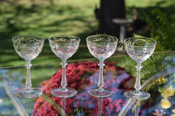 Vintage Etched Crystal Tall Cocktail Glasses Set of 4,  Rock Sharpe, c. 1940's, Antique Crystal Champagne Glasses ~ Weddings