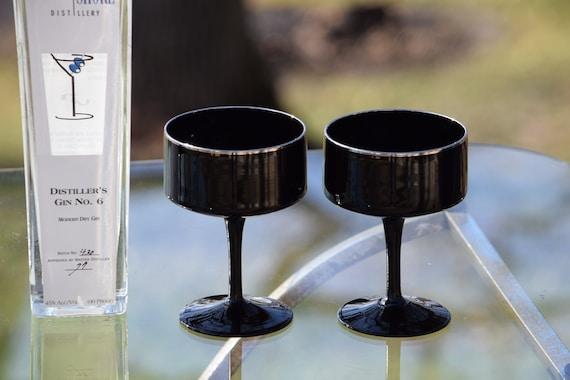 Vintage Black Cocktail  - Martini Glasses ~ Champagne Glasses, Set of 4, Lenox, Venture Black Platinum, circa 1975, Champagne Cocktails