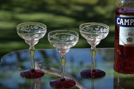 Vintage Etched Red Cocktail Glasses, Set of 4,  1950's, Vintage 5 oz Martini ~ Champagne ~ Margarita Glasses, Craft Cocktail glasses