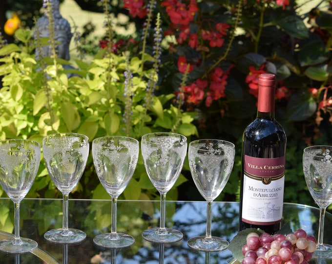 6 Vintage Acid Etched CRYSTAL Wine Glasses,  Fostoria, Melrose, c. 1924, Vintage Fostoria Etched Water Goblets, Vintage Wedding Glasses