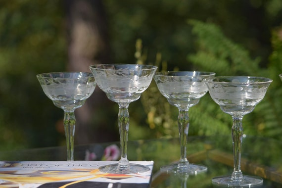Vintage Etched Cocktail Martini Glasses, Set of 5, 1950's, Vintage Etched Champagne Glasses, Champagne Cocktail glasses