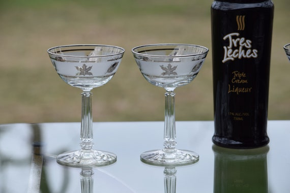 Vintage Silver Rimmed Cocktail Glasses, Set of 4, Mixologist Craft Cocktail Glasses, Vintage Tall Silver Rimmed Cocktail Party Glasses,