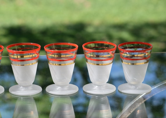 Vintage Mid Century - Red Gold - Double Shot Glasses, Set of 4, Vintage Whiskey, Tequila Glasses, 3 oz Double Shot Glasses, Home Bar Glasses