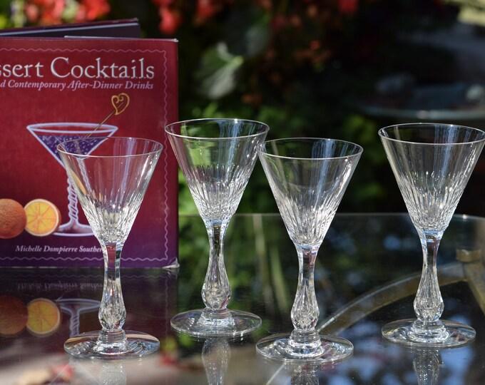 4 Vintage CRYSTAL Cut Bubble Stem 3 oz Wine Glasses, Seneca, c. 1950's,  3 oz After Dinner Drinks, Antique Crystal 3 oz  Port Wine Glasses