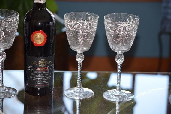 Vintage CRYSTAL Wine Glasses, Set of 4,  Pairpoint, c. 1937, Vintage Cut Crystal Water Goblets, Vintage Wedding Glasses ~ Toasting Glasses