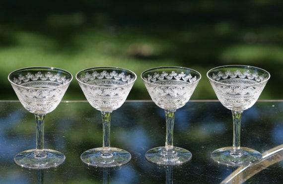Vintage Needle Etched Liquor ~ Wine Glasses, Set of 4,  Antique Needle Etched, 1920's,  After Dinner Drink 2.5 oz Liquor ~ Wine Glasses