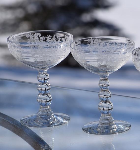 Vintage Needle Etched Cocktail Glasses, Set of 4, Duncan Miller, circa 1935, Vintage Round Balled Stem Cocktail glasses