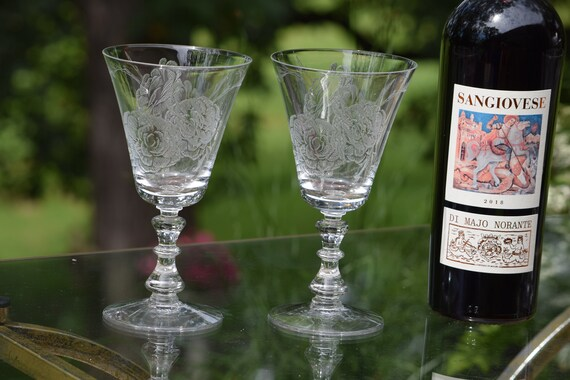 Vintage Acid Etched Crystal Water Goblet - Wine Glasses, Set of 4,  Fostoria, Rose, circa 1950's,  Tall Crystal Etched Wine Glasses