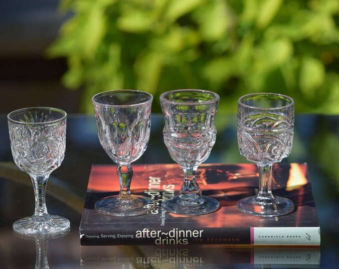4 Antique Pressed Glass Wine Cordials, Set of 4 Mis-matched,  Antique Wine 2 oz Cordials ~ After Dinner Drink Glass, Port, Sherry, Liqueur