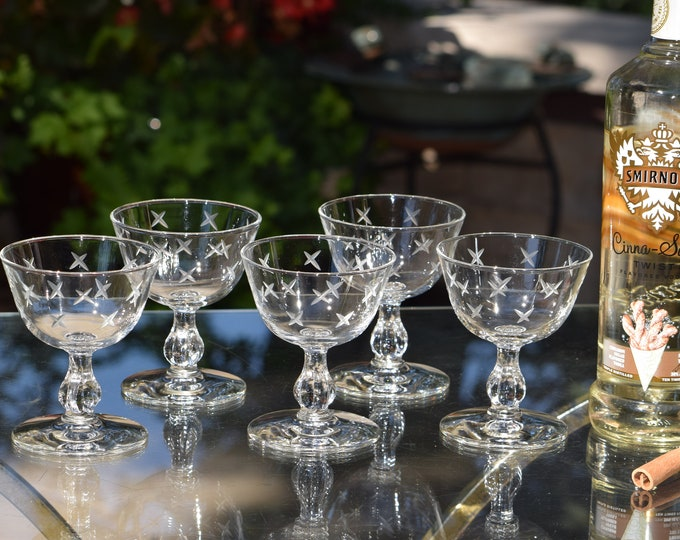 6 Vintage Etched Cocktail Glasses, Libbey, 1950's, Vintage Etched Champagne Glasses, Mixologists Craft Cocktail Glasses, Home Barware