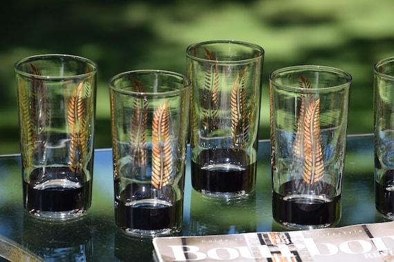 Vintage Black & Gold  Cocktail Highball Glasses, Set of 6, Whiskey ~ Bourbon Highball Glasses ~ Cocktail Set, Vintage 10 oz Highballs