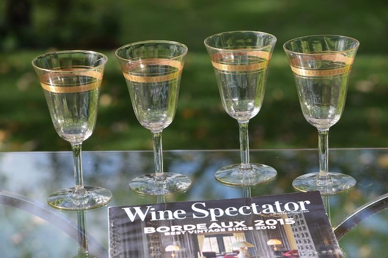 006678209f6 Vintage Gold Rimmed Encrusted Wine Glasses Set of 4 Elegant