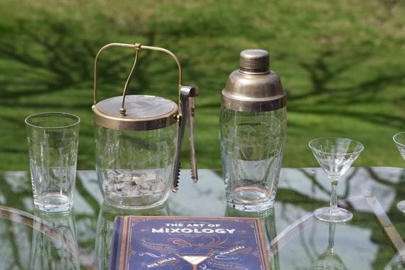 Vintage Etched Barware Set, 1950's, Vintage Cocktail Shaker, Cocktail Glasses, Highball Glasses and Ice Bucket, Vintage Home Bar Glasses