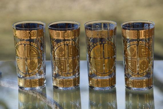 Vintage CULVER 22kt Gold Cocktail Highball Glasses, Set of 7, 1950's Culver Cocktail Glasses,  Whiskey Bourbon Glasses Hollywood Regency