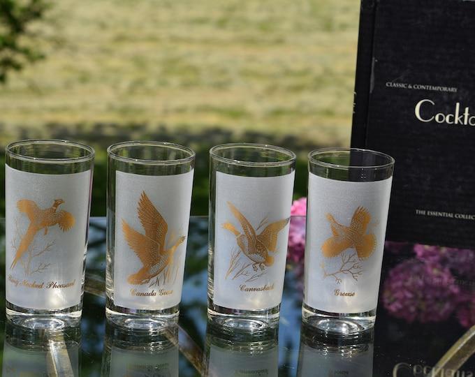 4 Vintage Pheasant Wildlife Highball Glasses, 1960's Vintage Barware, Whiskey, Scotch, Bourbon Highballs, Gold Pheasant Cocktail Glasses