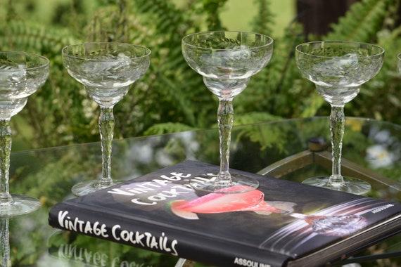 Vintage Etched Cocktail Glasses, Set of 6, Cocktail Party Glasses, Vintage Etched Champagne Glasses, Mixologist Craft Cocktail Glasses