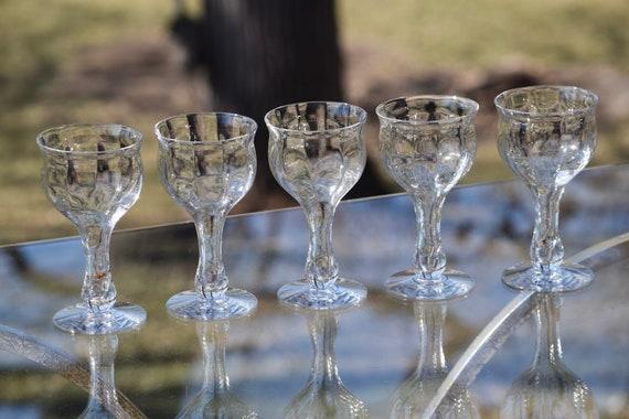 Vintage Hollow Stem Wine Glasses,  Set of 5,  After Dinner Drinks - 6 oz -  Port ~ Dessert Wine glasses, Small Vintage wine Glasses