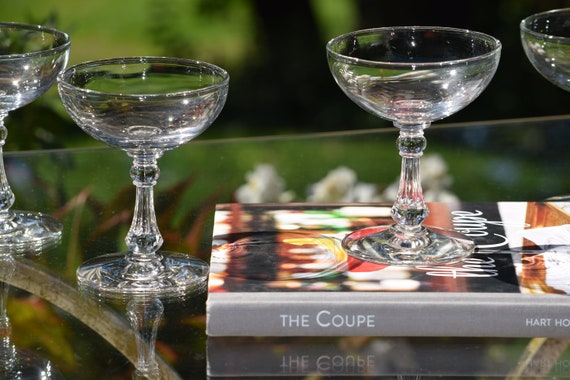 Vintage Cocktail Glasses, Set of 6,  Mixologist Cocktail - Martini Glasses ~ Coupes, Vintage Champagne Toasting glasses