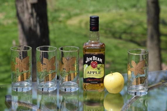 Vintage GOLD Highball Glasses, Set of 4, Vintage Whiskey Bourbon Glasses, Vintage MCM Barware, Mixologist Craft Cocktail Glasses