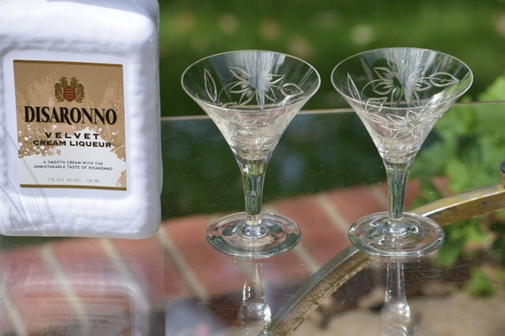 Vintage Etched Liquor - Cocktail Glasses, Set of 4,  After Dinner Drink,  3.5 oz Etched Small Martini Glasses, After Dinner Drink  Glass