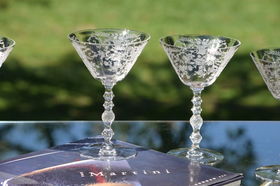 Vintage Etched Cocktail ~ Martini Glasses, Set of 4, Cambridge, Portia, circa 1930's, Mixologist Craft Cocktails ~ Champagne Glass