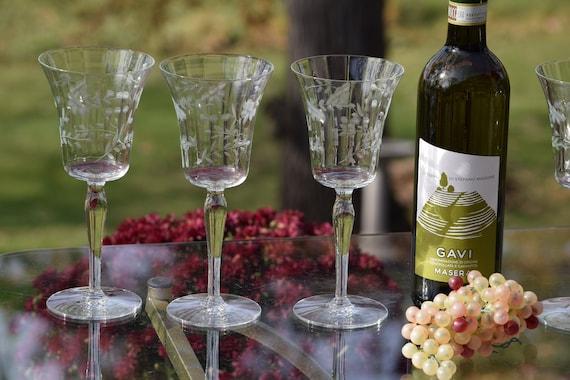 Vintage Etched Wine Glasses, Set of 6,  Floral Etched Wine glasses ~ Cocktail Glasses, Elegant Vintage Wedding Toasting Glasses