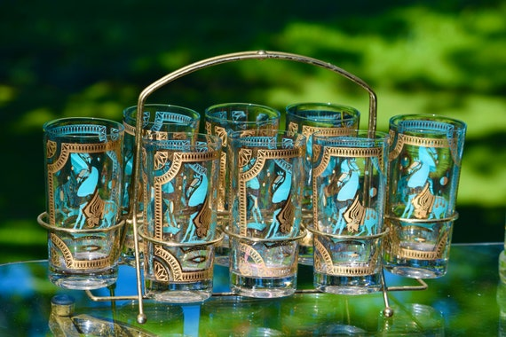 Vintage Fred Press cocktail Highballs, Set of 8 with Caddy,  Rare ~ Gold and Turquoise Trojan Horse Design Highballs, Whiskey Highballs
