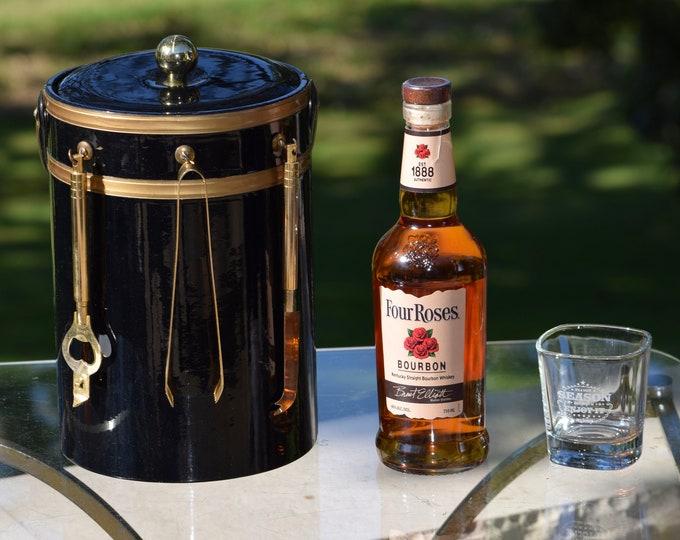 Vintage GEORGES BRIARD Gold and Black Ice Bucket with Bar Tools, Mad Men Barware, Vintage Barware, Home Bar Ice Bucket, Briard Collectors