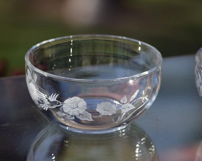 Vintage Etched Crystal Hummingbird Dessert Bowls, Set of 2, Avon, 1980's, Etched Hummingbirds, Vintage Luncheon Salad Dessert Bowls