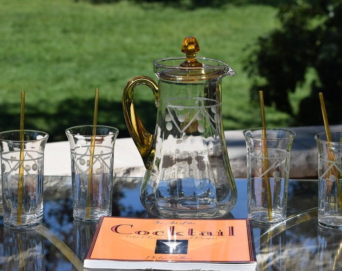Vintage Amber & Clear Etched Cocktail Pitcher with Highballs and Amber Straws  1950's Wine Decanter Pitcher with Pulled Amber Handle and Top