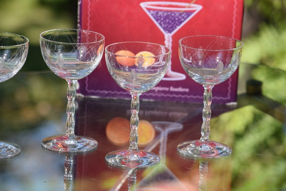 Vintage Etched Crystal Wine - Liquor Cordial Glasses, Set of 5, Fostoria, Herladry, 1940  ~ 3 oz, After Dinner Drinks Glasses