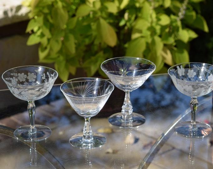 4 Vintage Etched Cocktail Martini Glasses, Set of 4 Mis-Matched Cocktail glasses, Mid Century Martini Glasses, Manhattan Gin Glasses