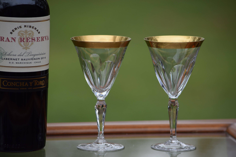 206859ab72b0 Vintage Crystal Gold Rim Wine Glasses
