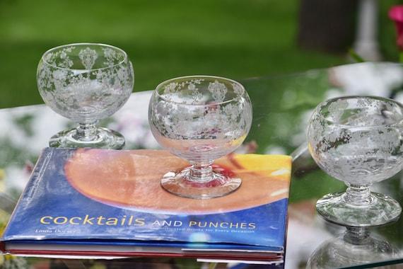 Vintage Etched Cocktail Glasses, Set of 4, Cambridge, Rose Point, Cocktail Icer, circa 1934, Summer Cocktail Glasses ~