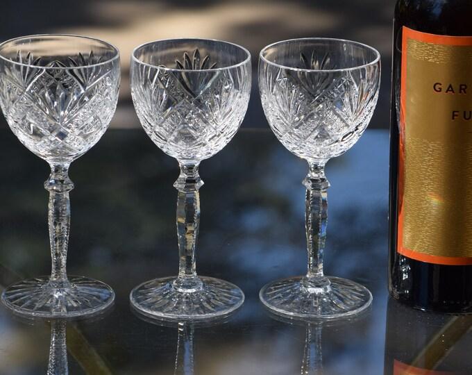 4 Vintage Cut CRYSTAL Wine Glasses, Wittmer, Venezia, 1960's, 5 oz Wine glass, 1960's Vintage Crystal Wine Glasses