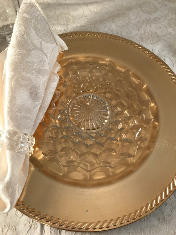 "Vintage Glass 7"" Plates,  Set of 5, Appetizer ~ Cheese Meats Plates ~ FOSTORIA, circa 1950, Vintage Glass Luncheon - Dessert -Salad Plates"