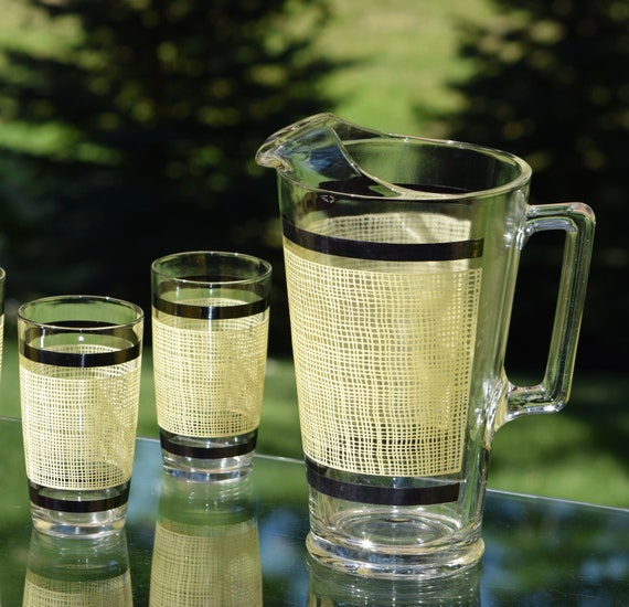 Vintage Mid Century Pitcher with 6 glasses, Vintage Small Batch Cocktail Pitcher with 6 Highball Glasses, Summer Lemonade Pitcher