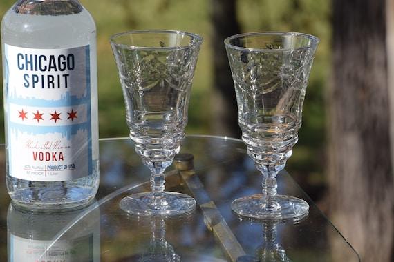 Vintage Etched Wine Glasses, Set of 5,  Unique Shaped Wine ~ Cocktail Glasses, White Wine glasses, Vintage Cocktail Glasses