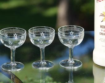 6 Vintage Pressed Glass and Etched Wine Liquor CORDIAL Glasses, 3 oz After Dinner Drink Glasses, Port Wine, Dessert Wine Glasses