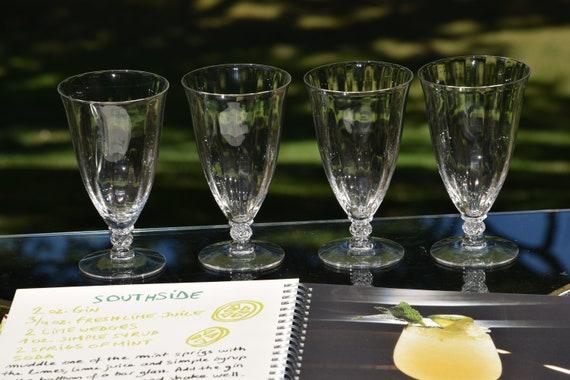 Vintage Cocktail Glasses, Set of 4,  Water or Ice Tea Glasses, 10 oz Cocktail Mimosa Glasses, Vintage Wedding Decor/Serving