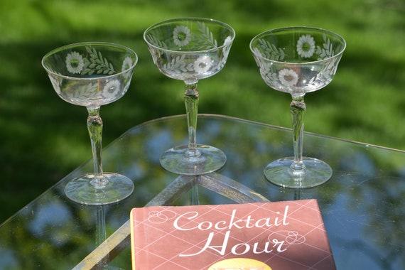 Vintage Etched Cocktail glasses, Set of 6, Mixologist Craft Cocktail Glasses, Vintage Cocktail Coupes, Manhattan glasses, Martini Glasses