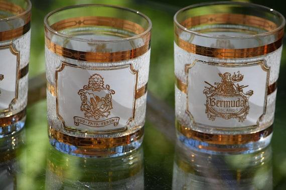 Vintage CULVER Bermuda Islands Lowball Glasses, Set of 4, Culver Whiskey, Scotch, Bourbon Rocks Glasses, Culver Cocktail glasses